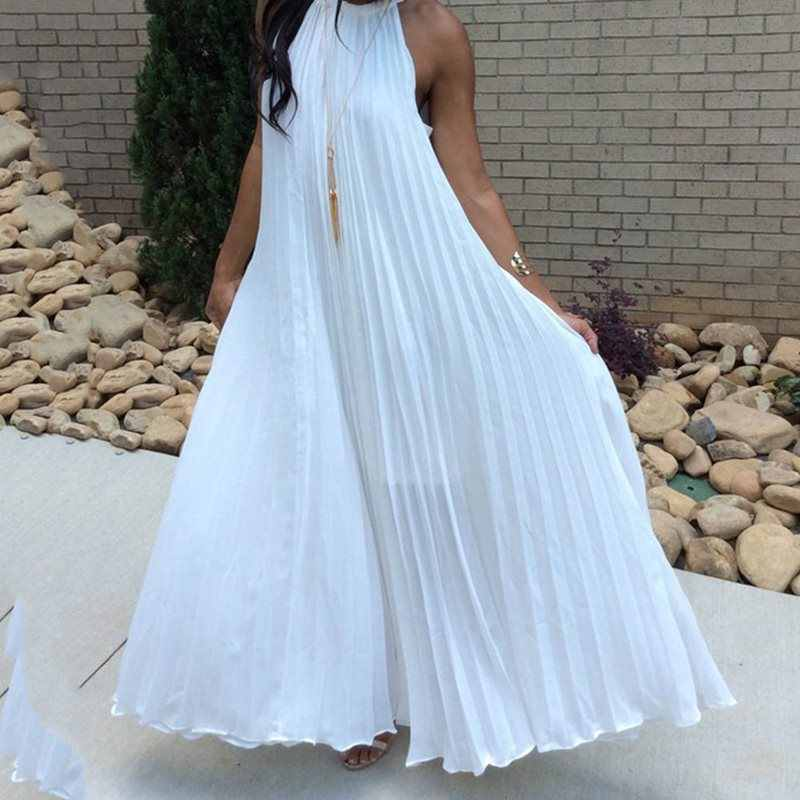 Pileli mavi Maxi elbise 2019 yaz Halter kolsuz kadın plaj elbiseleri Sundress beyaz uzun artı boyutu günlük afrika elbise