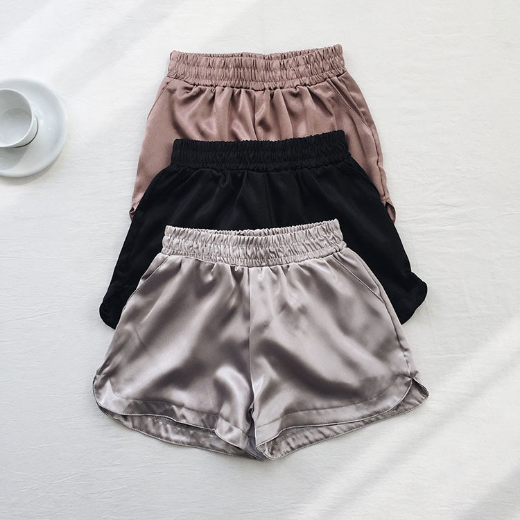 Summer Solid Satin Casual   Short   Feminino Elastic High Waist Black Silver Wide Leg Trouser Bottom Women Fashion Sexy   Shorts