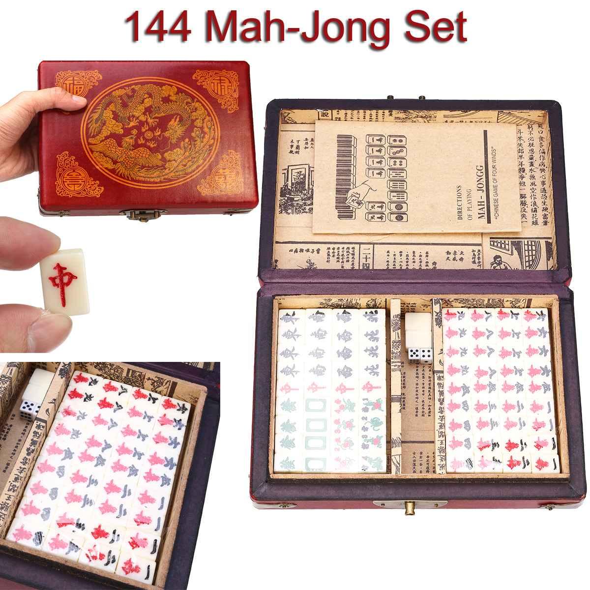 144 Tiles Mah Jong Set Funny Chinese Traditional Mahjong