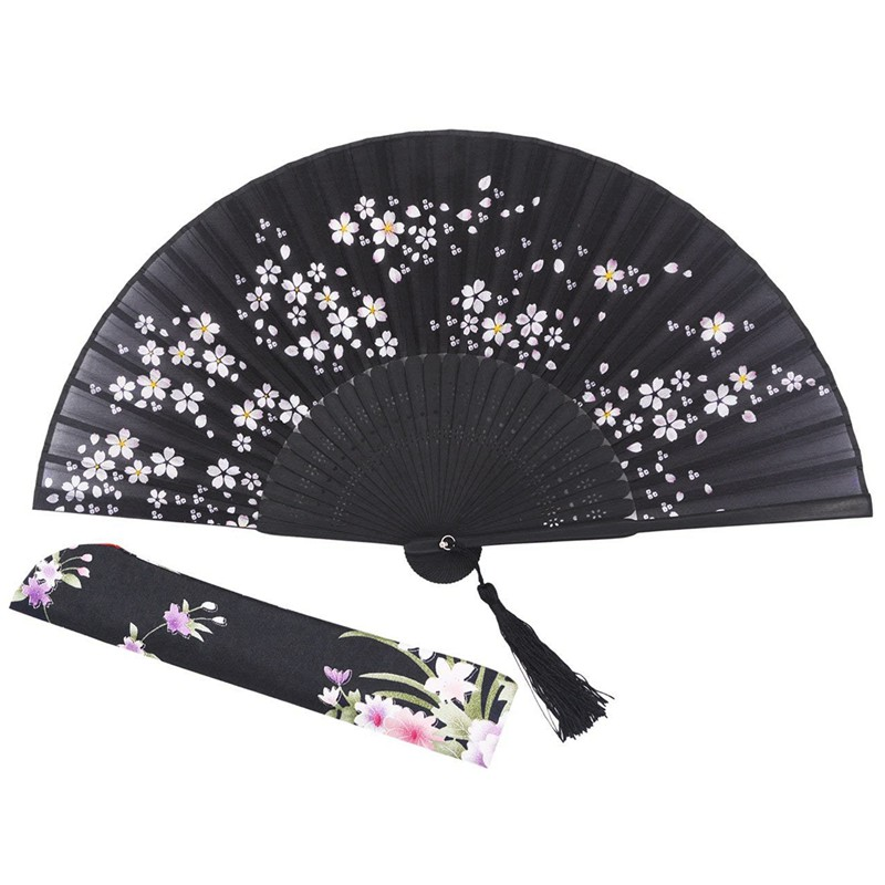 Charming Elegant Modern Woman Handmade Bamboo Silk 8.27 Inch(21cm) Folding Pocket Purse Hand Fan, Collapsible Transparent Hold