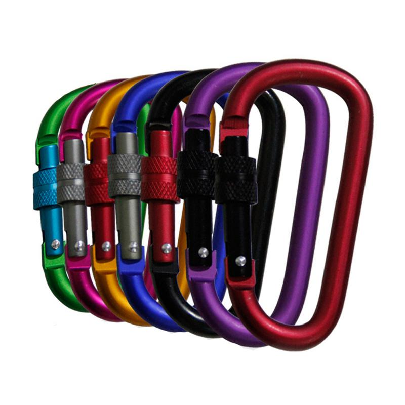 Matt Two-Color Carabiner Safety Outdoor Pendant Aluminum Alloy Thread With Lock Buckle Hook For Mountaineering Camping ClimbingMatt Two-Color Carabiner Safety Outdoor Pendant Aluminum Alloy Thread With Lock Buckle Hook For Mountaineering Camping Climbing
