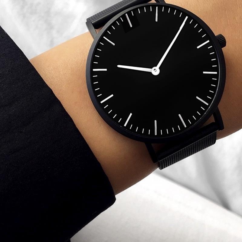 Femmes nouvelle Montre d'affaires noir maille bande en acier inoxydable analogique Quartz Montre-bracelet dame Femme montres de luxe Montre Femme
