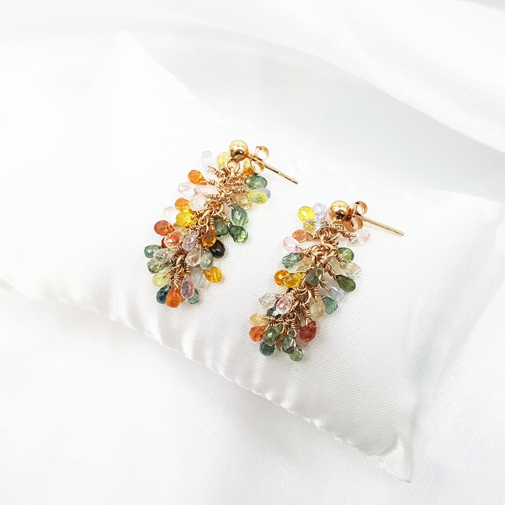 Lii Ji Rainbow Sapphire Jewelry Set Natural Gemstone 925 Sterling Silver 18K Gold Plated Earring Pendant Handmade Jewelry Set - 4