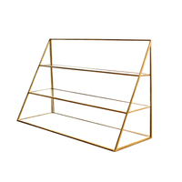 1pc Storage Rack Three layer Desktop Portable Nordic Style Brass Glass Rack Jewelry Rack Necklace Holder for Home Jewelry Shop