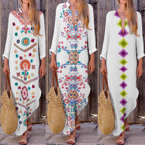 Women Ladies Fashion Dress Loose Cotton Linen Maxi Dress Long Sleeve Casual Bohemian Kaftan Tunic Gypsy Ethnic