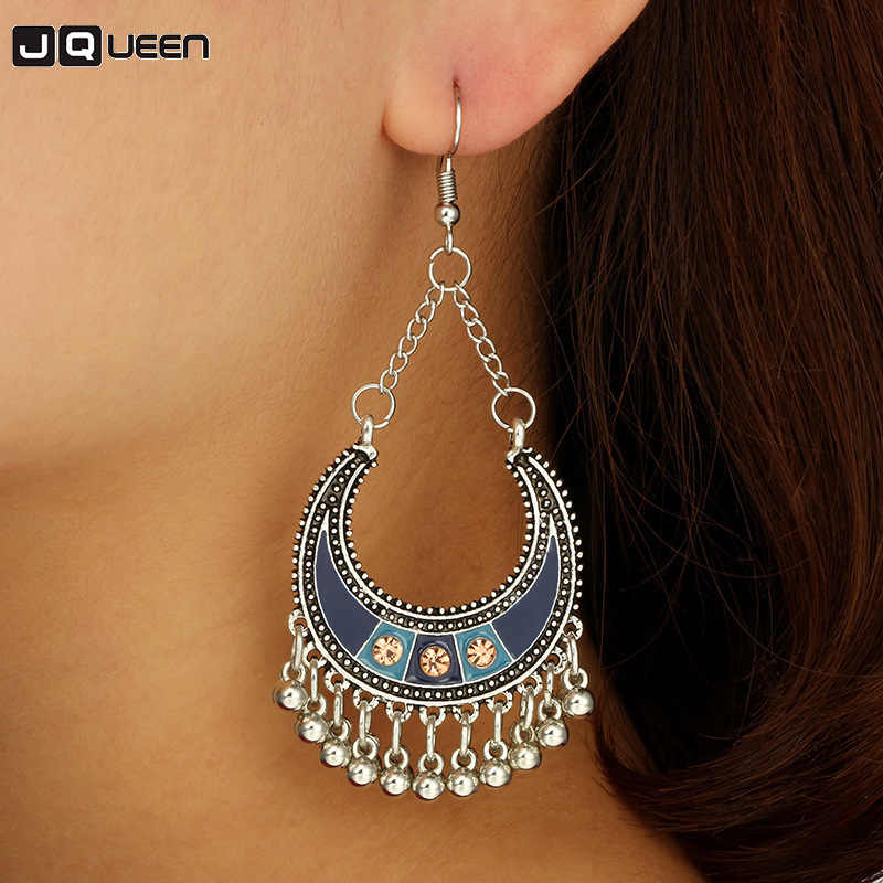 Gypsy Ethnic Egypt Silver Tassel Fringe Pendientes Hippie Earrings Statement Jhumka Jhumki Moon Shape Drop India Turkish Jewelry