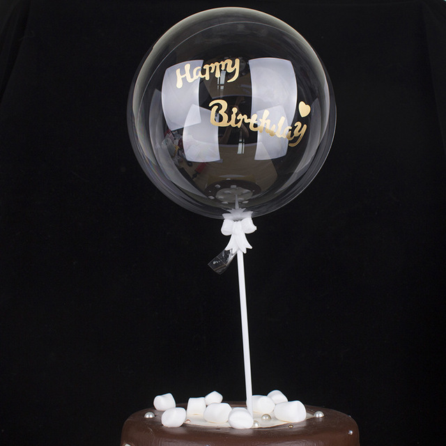 DIY Gold Letter Happy Birthday Clear Helium Balloon PVC Inflatable Air Balloon for Wedding Birthday Party