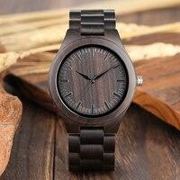 Retro drewniane zegarki dla mężczyzn zegar męski casualowa lekka drewno hebanowe człowiek pełna naturalna opaska kwarcowe męskie zegarki Relogio Masculino w Zegarki kwarcowe od Zegarki na