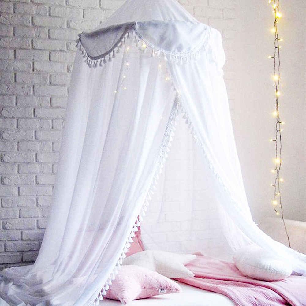 Малыш детская кровать сетчатый навес покрывало москитная сетка Шторы круглая купольная палатка хлопок постельные принадлежности