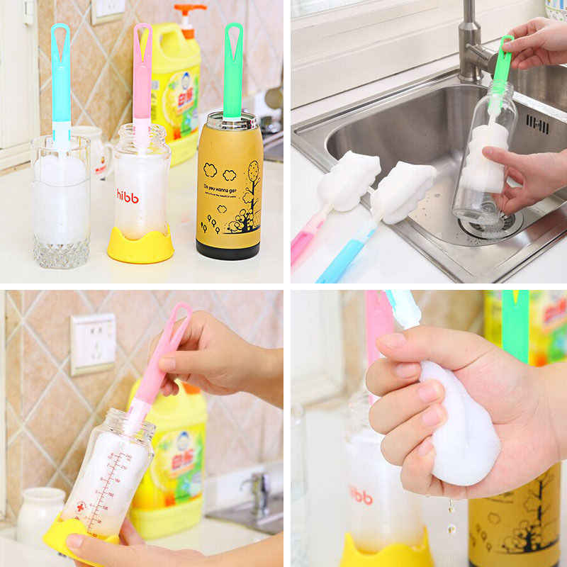 Kitchen Handle Sponge Brush Bottle Baby Cup Glass Washing Cleaning Detachable Cleaner Tool