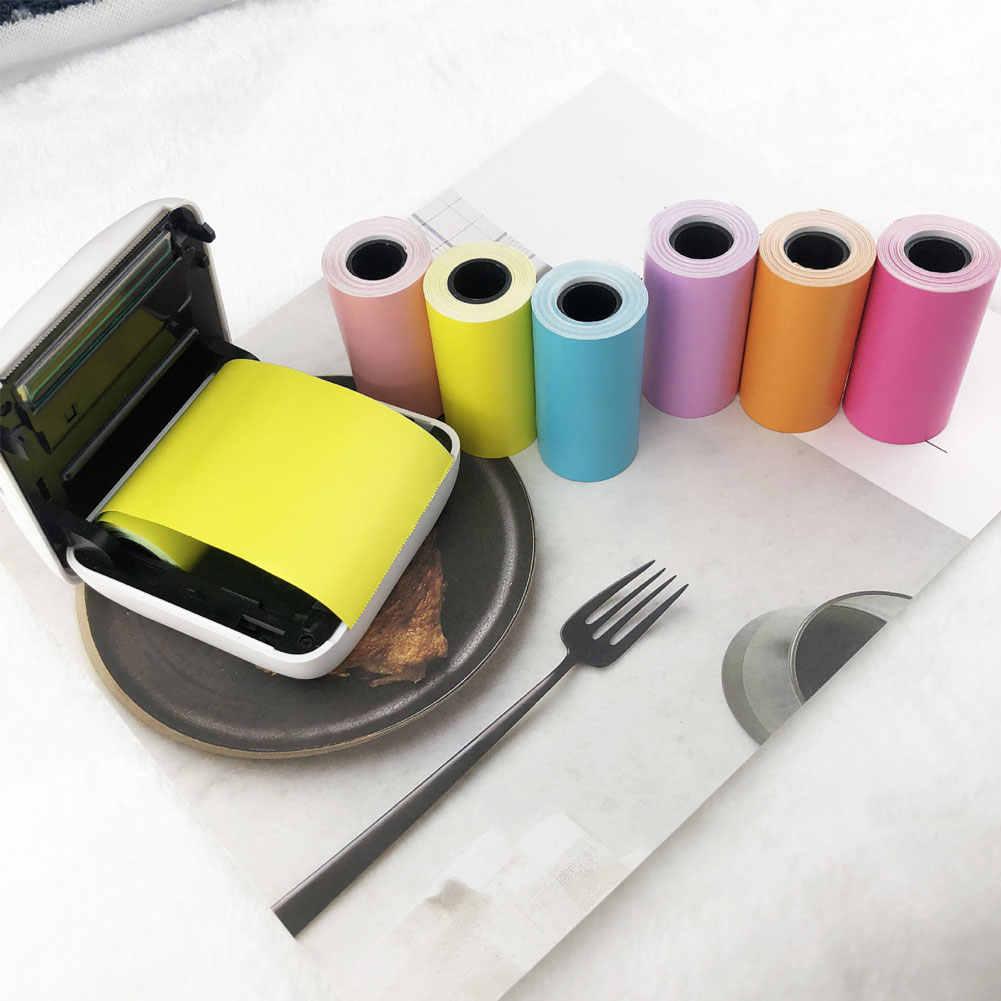 Paperang Warna 57X30 Mm Perekat Termal Stiker Pencetakan Kertas untuk Paperang Printer Foto Kertas