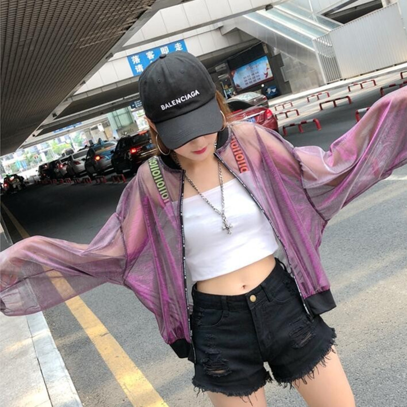 3168 Summer 2019 Transparent Sunscreen Baseball Jacket Women Bat Sleeved Jacket Windbreaker Short Thin Loose Coat Back Printed in Jackets from Women 39 s Clothing