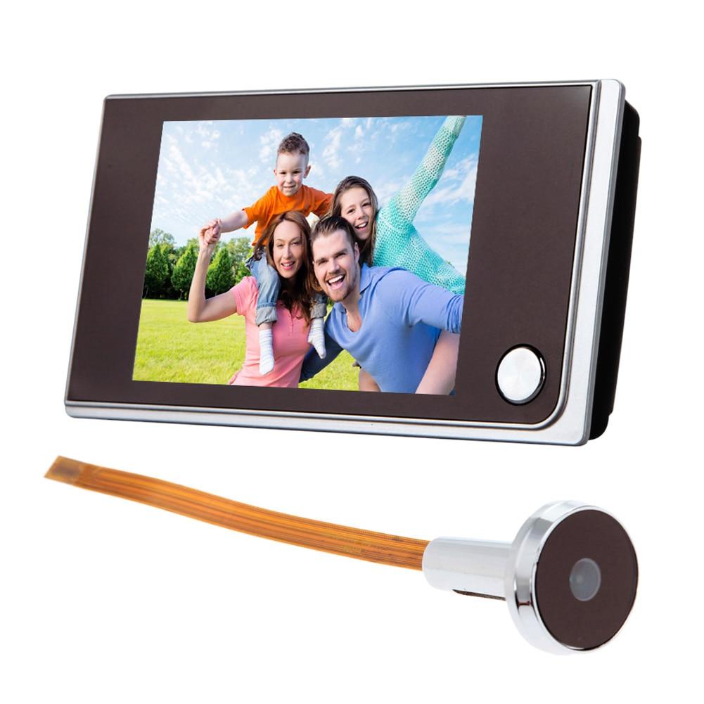 3,5 pulgadas Digital timbre pantalla LCD en Color de 120 grados mirilla Visor de puerta timbre de los ojos del Mini Color al aire libre cámara de alta calidad