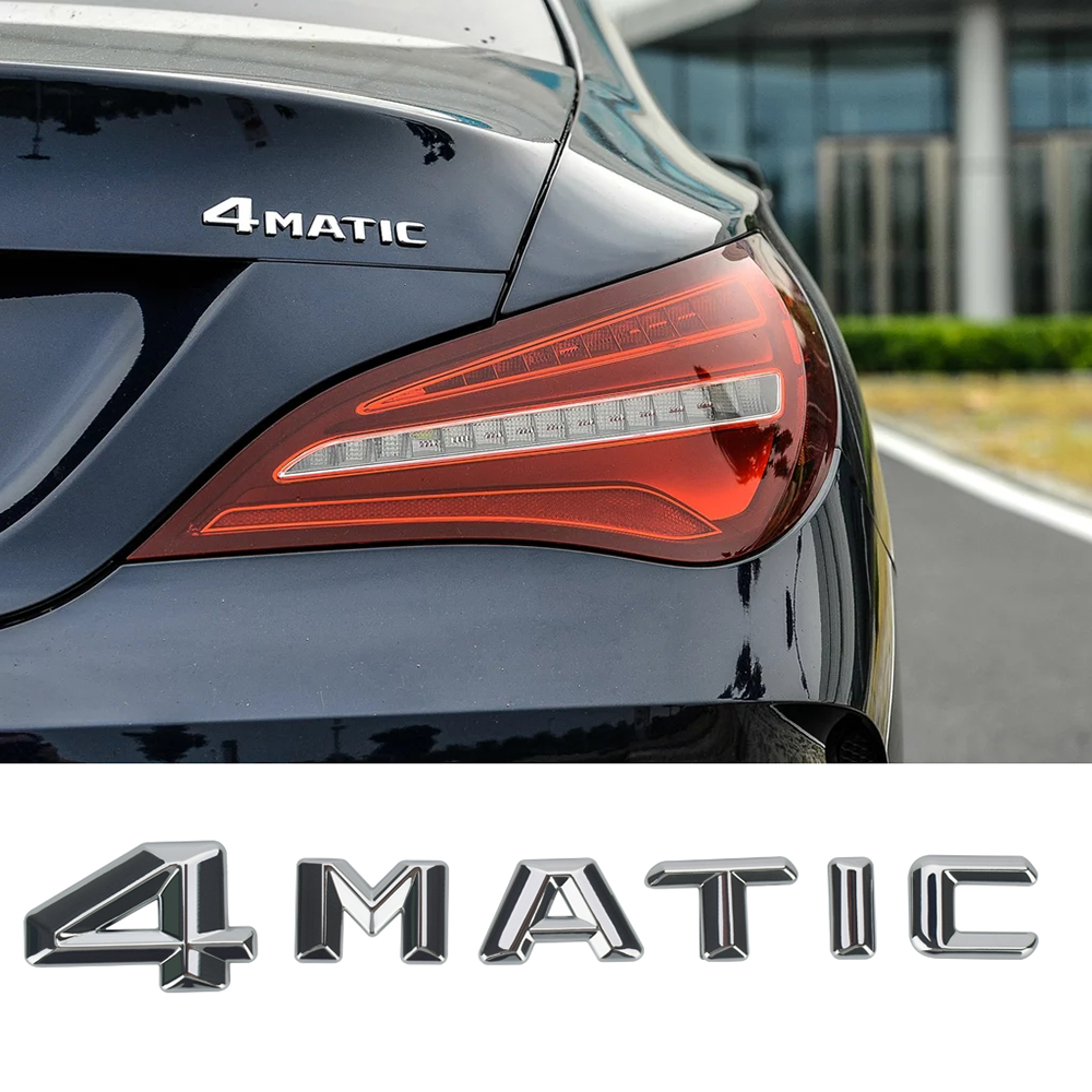 4MATIC Letter Logo For <font><b>Mercedes</b></font> <font><b>Benz</b></font> AMG GT C E S Class W246 W204 W205 W210 W211 W212 <font><b>W213</b></font> GLB Rear Trunk Sticker 3D <font><b>Accessories</b></font> image