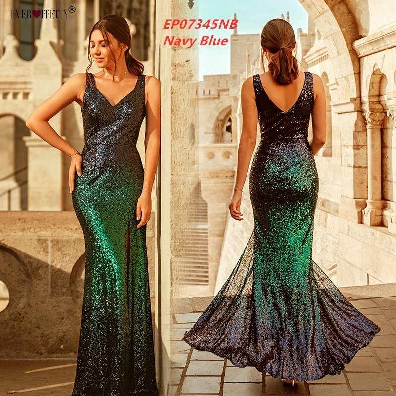 5ceae566ad Gold Long Evening Dress Ever Pretty Back Cowl Neck EP07110GD Shine Sequin  Sparkle Elegant Women 2019 Evening Party Gowns