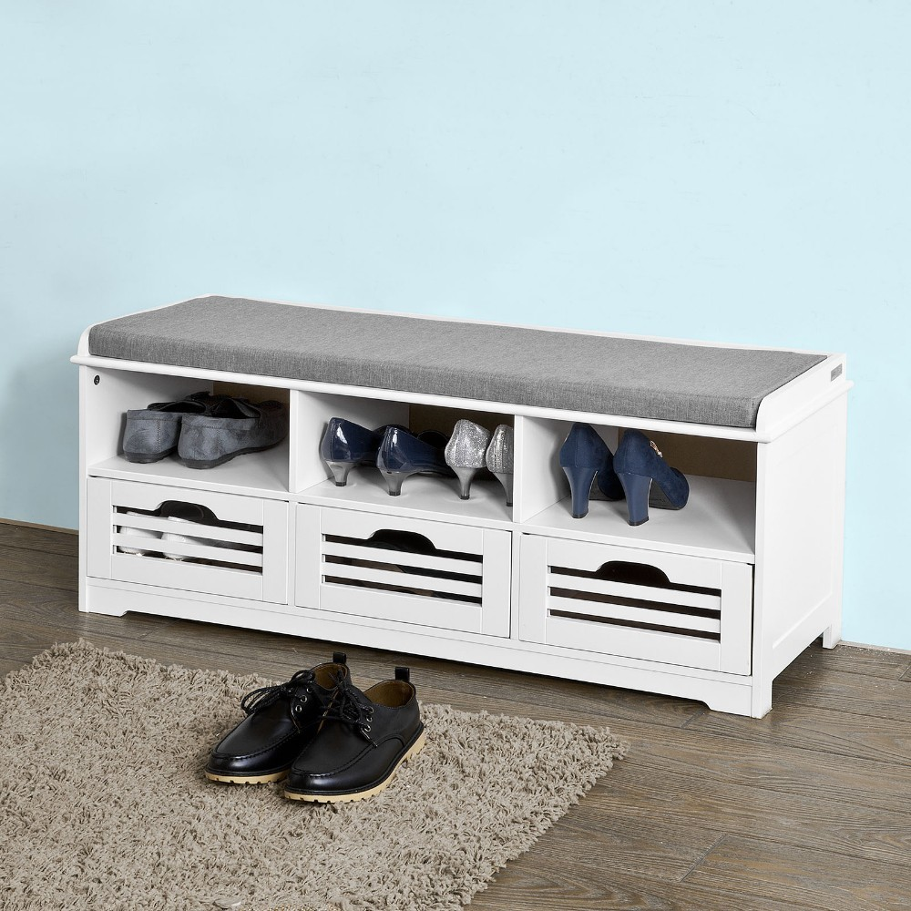 SoBuy FSR36-W Shoe Storage Bench with 3 Drawers 3 Storage Cubes and 1 Removable Seat Cushion Hallway Cabinet Shoe Rack