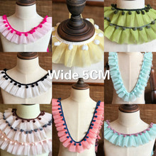 5CM Wide Colored 3D Guipure Pleated Lace Fabric Collar Dress Lace Applique Ribbon Pompom Ruffle Trim DIY Curtain Sewing Supplies недорого