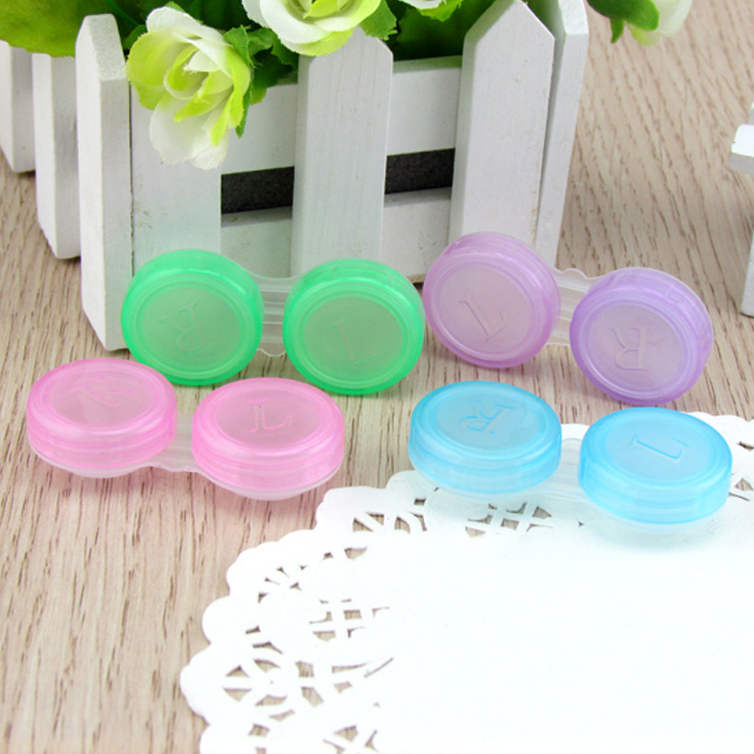 Candy color Plastic Contact Lens Box Holder Portable Small Lovely Candy Color Eyewear Bag Container Contact in Eyewear Accessories from Apparel Accessories