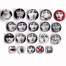 6/8-Inch Fashion Style Italy Designer Fornasetti Plate Decorative Hanging Plates Home Hotel Bar Background Adornment Plate