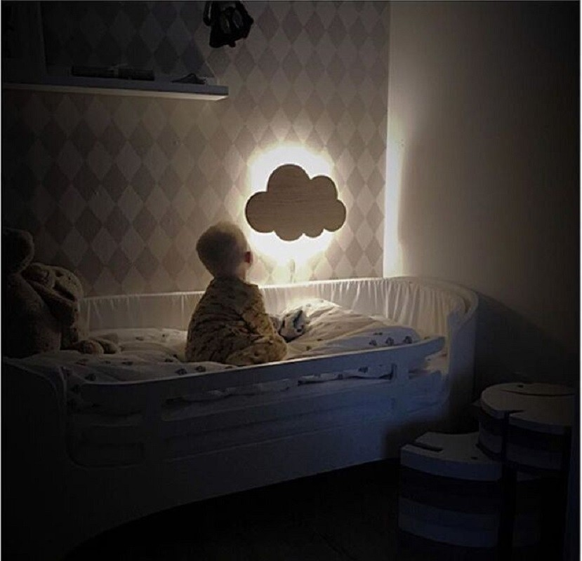 INS Small LED Night Light Nordic Style Cartoon Battery Remote Control Rabbit Flaky Bear Wall Hanging Decorative Lights Drop Ship