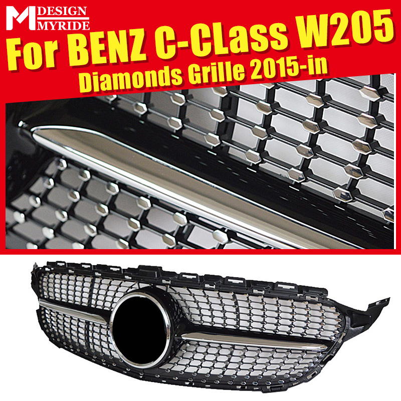 For W205 Diamonds Front Grille ABS Material Black C-Class C180 C200 C250 C350 C400 Sporty  Bumper grille 2015-in