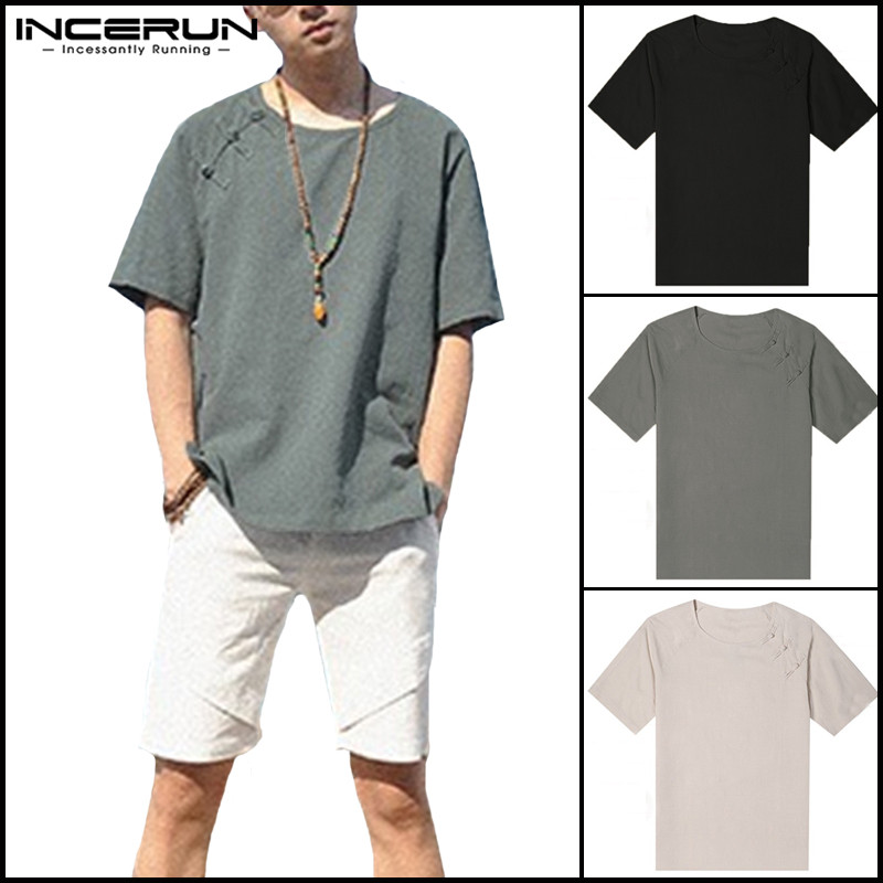 Summer Chinese Style Men Shirts Cotton Crew Neck Half Sleeve Solid Button Shoulder Decor Loose Male Tee Tops Seaside Streetwear