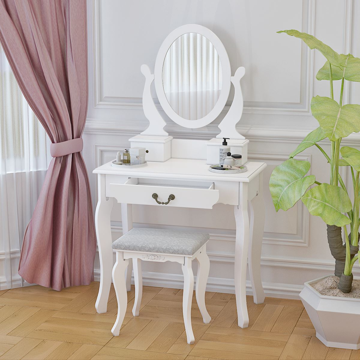 US $88.9 |Panana Nordic Bedroom Vanity Furniture Dressing Table with Mirror  + Stool + 3 Organizer Drawers Fast delivery-in Dressers from Furniture on  ...