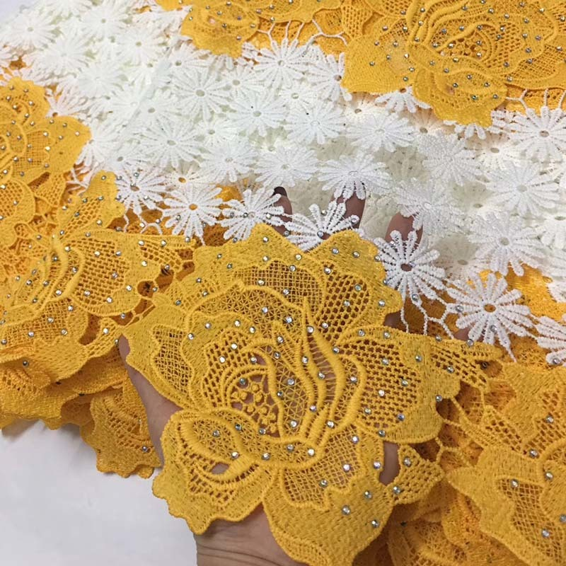 High Quality African Lace Fabric 2019 New Design African Guipure Lace Yellow & White Color Nigerian Guipure Lace Fabric