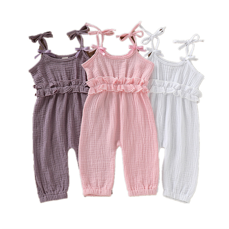 Baby Clothes Baby Girl Jumpsuit Sleeveless Romper Solid Ruffled Bowknot Trousers Outfits New