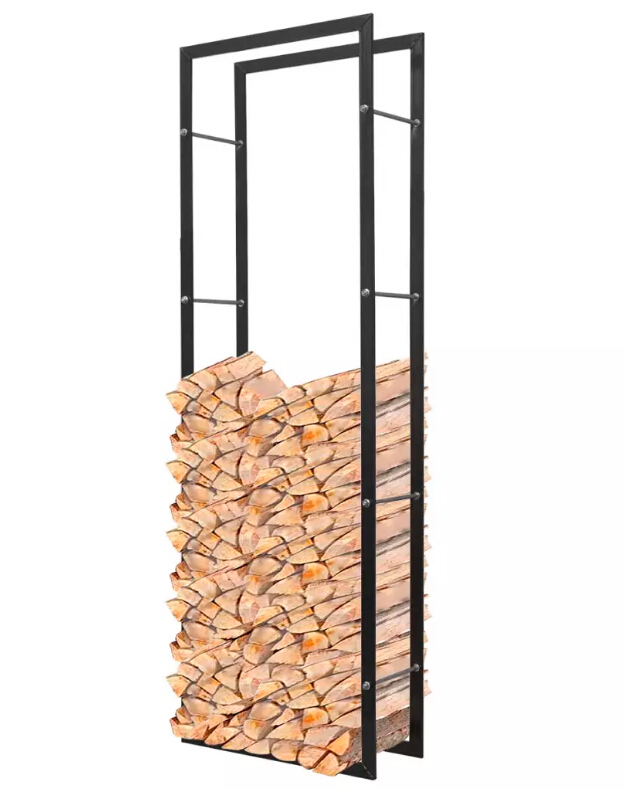 VidaXL Metal Firewood Rack Rectangular Black Matchstick Rack Floor Type Timber Stacking Storage Holders Racks