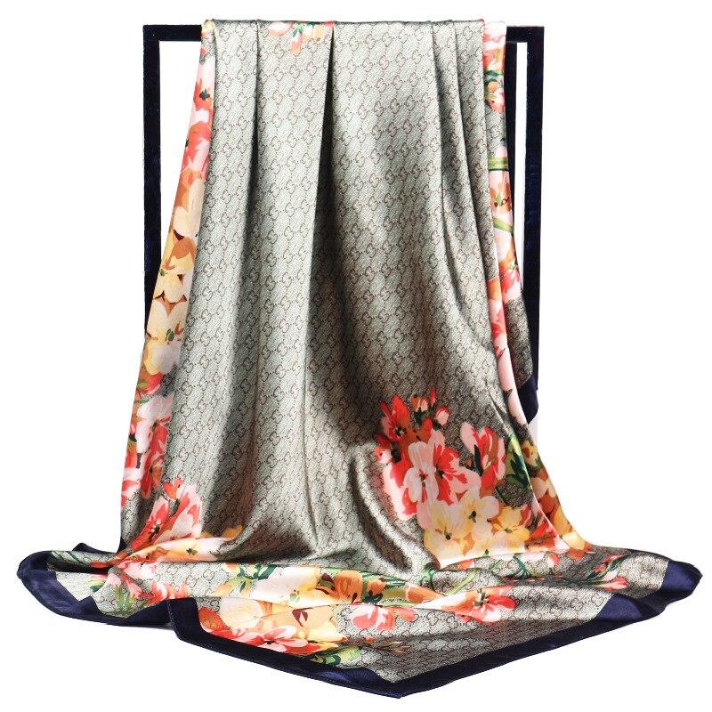 90*90cm four seasons scarf women Emulation silk retro Ladies Shawl flower Printing scarf wrap head scarf bandana accesories