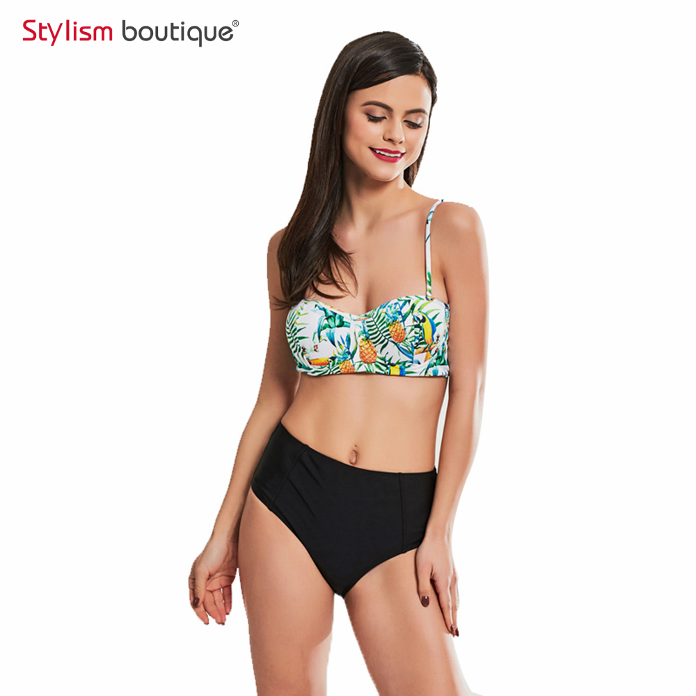 Push Up Women <font><b>Swimwear</b></font> <font><b>High</b></font> <font><b>Waist</b></font> <font><b>Sexy</b></font> Swimsuit <font><b>Floral</b></font> Printed <font><b>Bikinis</b></font> <font><b>Set</b></font> Bandeau Bathing Suit Brazilian Biquinis <font><b>2018</b></font> image