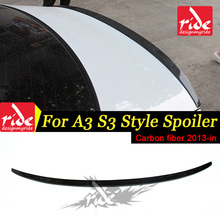For Audi A3 8V Sedan Coupe 3-boxes Model S3-Style High-quality Carbon Fiber Rear Trunk Wing Lip Spoiler Auto Car-styling 2013-in стоимость