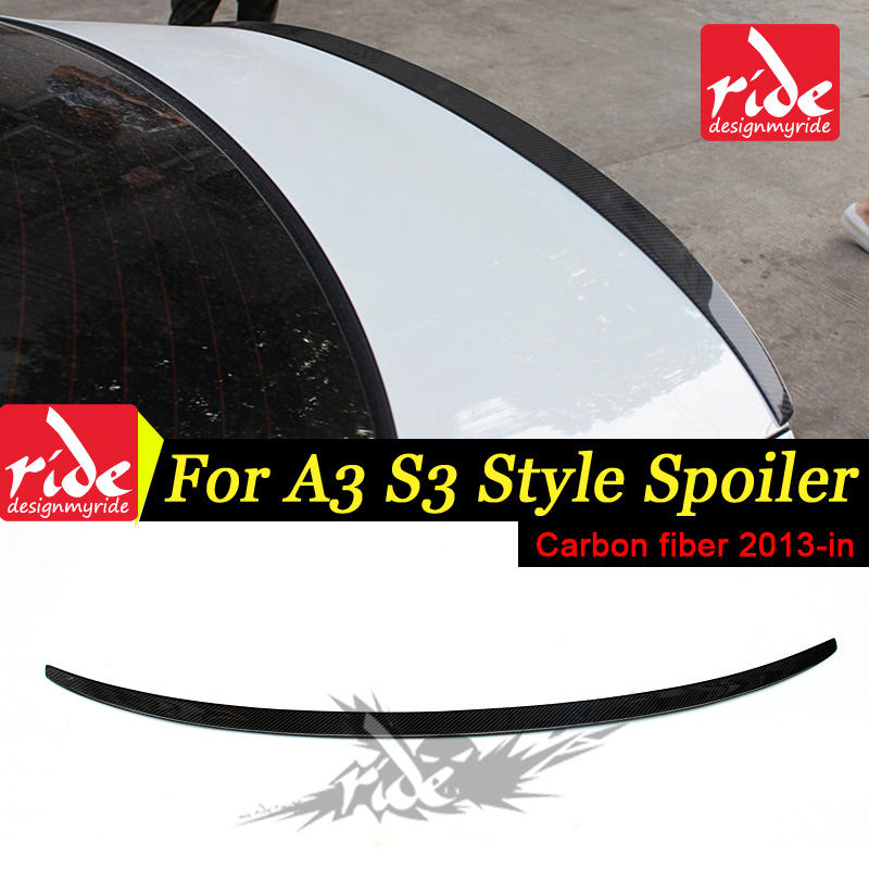 For <font><b>Audi</b></font> <font><b>A3</b></font> <font><b>8V</b></font> <font><b>Sedan</b></font> Coupe 3-boxes Model S3-Style High-quality Carbon Fiber Rear Trunk Wing Lip Spoiler Auto Car-styling 2013-in image