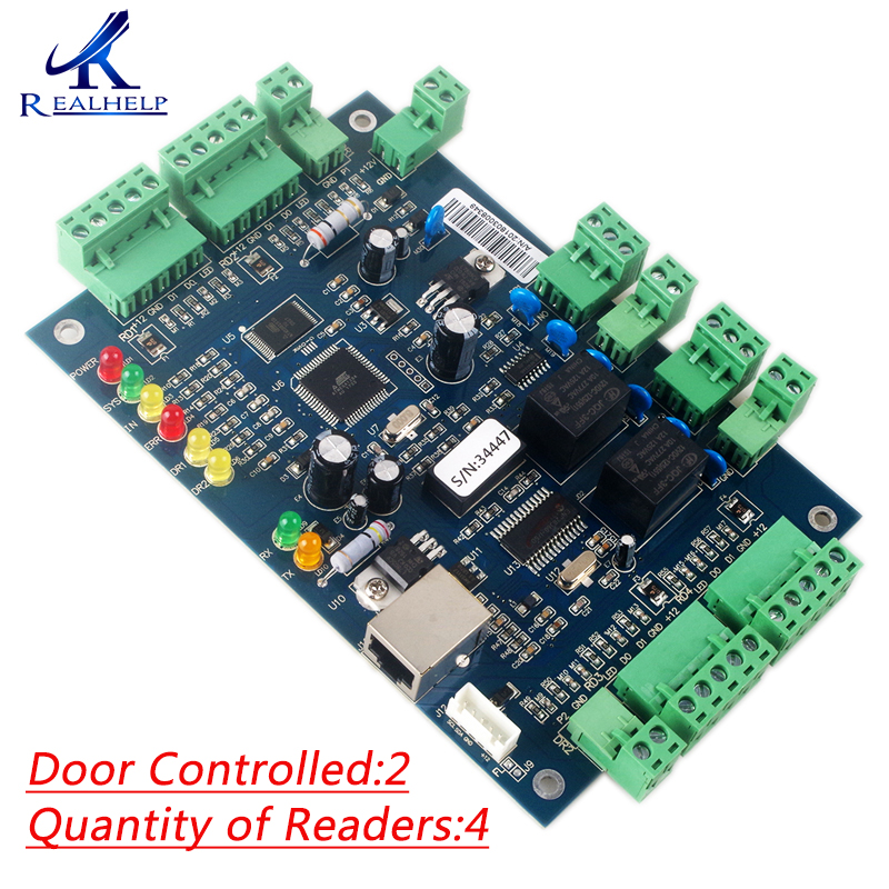 20,000 Users TCP IP Access Controller board for 2 door and 4 card reader Compatible with All Card Reader Card Wiegand 26