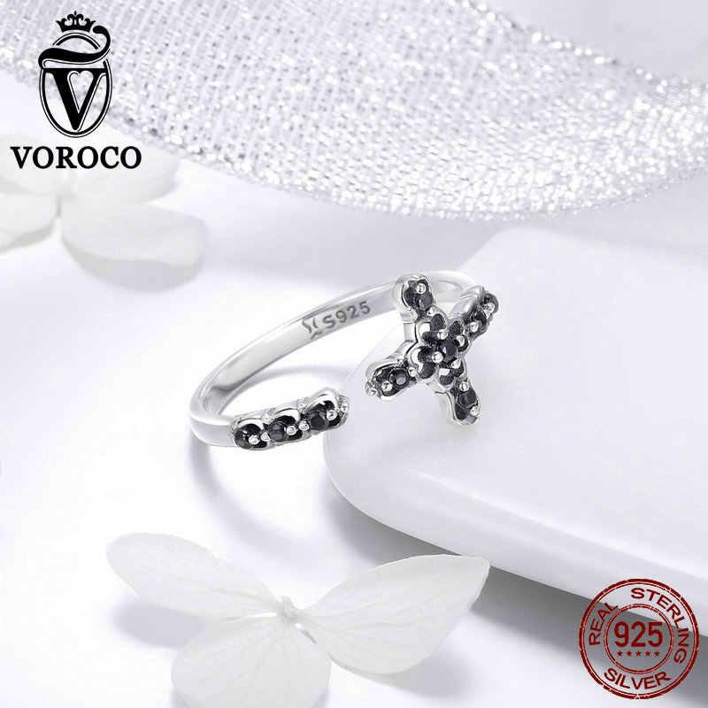 2018 VOROCO วินเทจของแท้ 925 เงินสเตอร์ลิงข้ามแหวนสำหรับงานแต่งงานครบรอบของขวัญเครื่องประดับสำหรับ Unisex BKR447