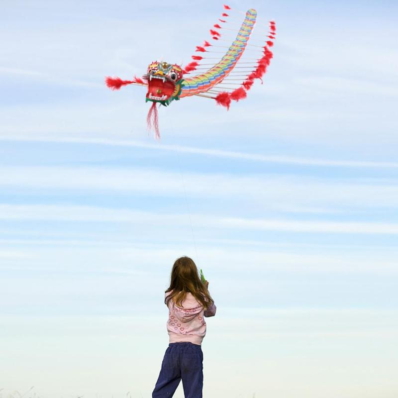 Kids Chinese Traditional Dragon Kite Chinese Design Decoration Flying Games Kite Fordable Children Outdoors Fun Sports Play Toys