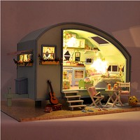 Cute Room A 016 Time Travel DIY Wooden Dollhouse Miniature Kit LED Music Voice Control Wooden Toys for Children Birthday Gifts