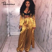 Tobinoone New Sexy Two Piece Set Casual Crop Top Two Piece Outfits Autumn Long Trench Coat Three Piece Set Tracksuit Women