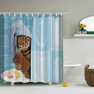 Shower Curtain Bathing Home-Decoration Polyester Waterproof Cat-Printing Cloth Lovely