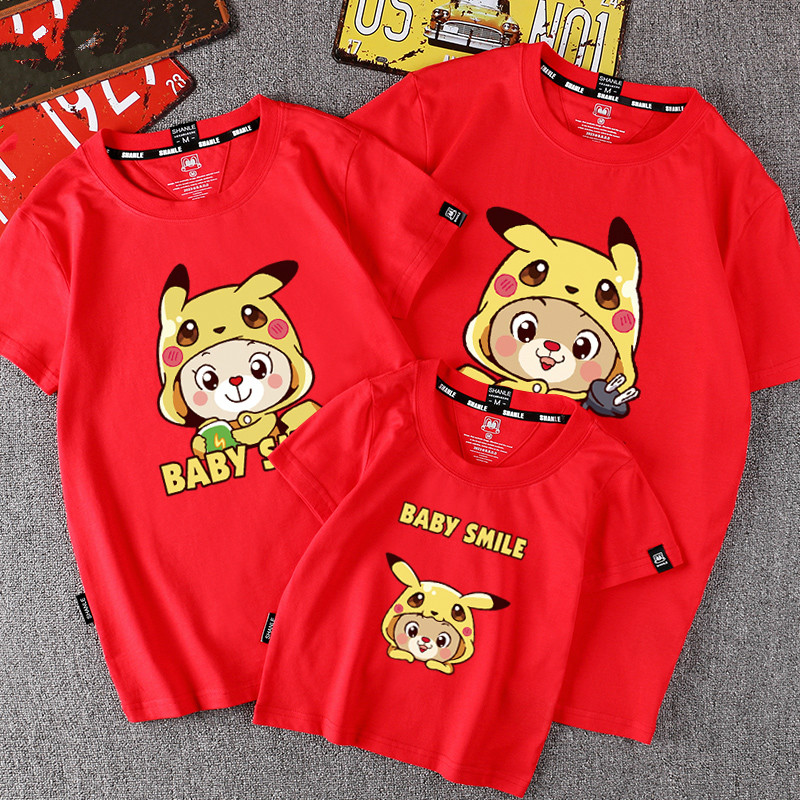 ce267ab2 3 Pieces/Pack Family Look Matching Outfits Pokemon Pikachu Printed T Shirt  Mother Daughter Short Sleeve Dad Mom Baby Family Suit-in Matching Family  Outfits ...