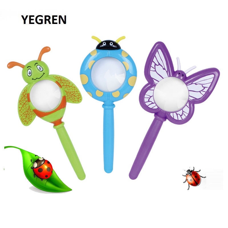 Cartoon Insect Shape Magnifying Glass Outdoor Exploration Learning Kids Children Educational Toys Magnifier Ladybug Butterfly
