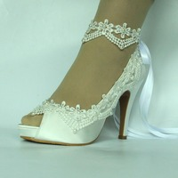 Women's Satin High heel Pearls Bows Across Tops Dress Open Toe Wedding Shoes Large Size