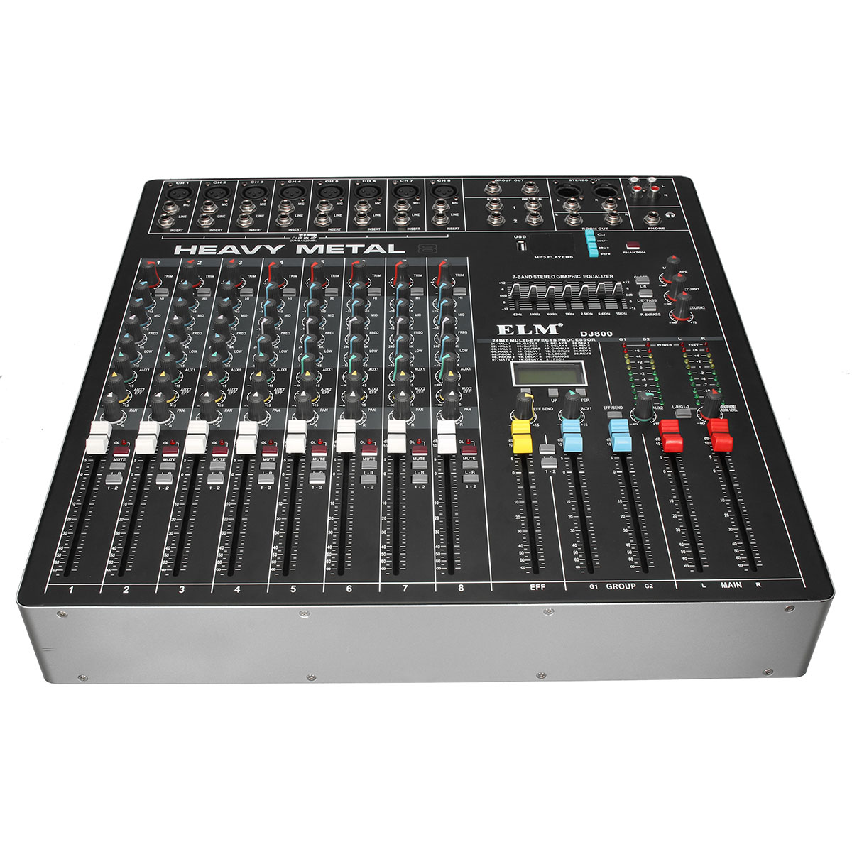 claite professional mixer usb 8 channels audio console 48v phantom power mixing dsp digital. Black Bedroom Furniture Sets. Home Design Ideas