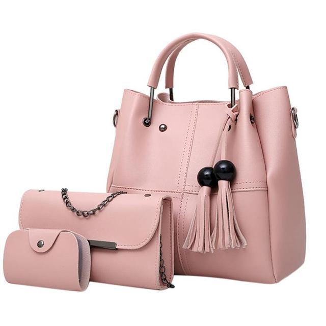 6c01b88e1452 3Pcs Sets Women Handbags PU Leather Shoulder Bags Tassel Bucket Purses And Handbags  Female Large
