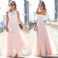 0a08ef1d13db571 Summer Women S Sleeveless Chiffon Dress Boho Lace Panel Casual Fit Fairy  Ball Gown Dress