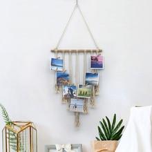 Living Room Tapestry Art Wall Hanging Macrame Photo Show Knitted Cotton Handmade Handcraft Tassel Retro Bedroom Bohemian
