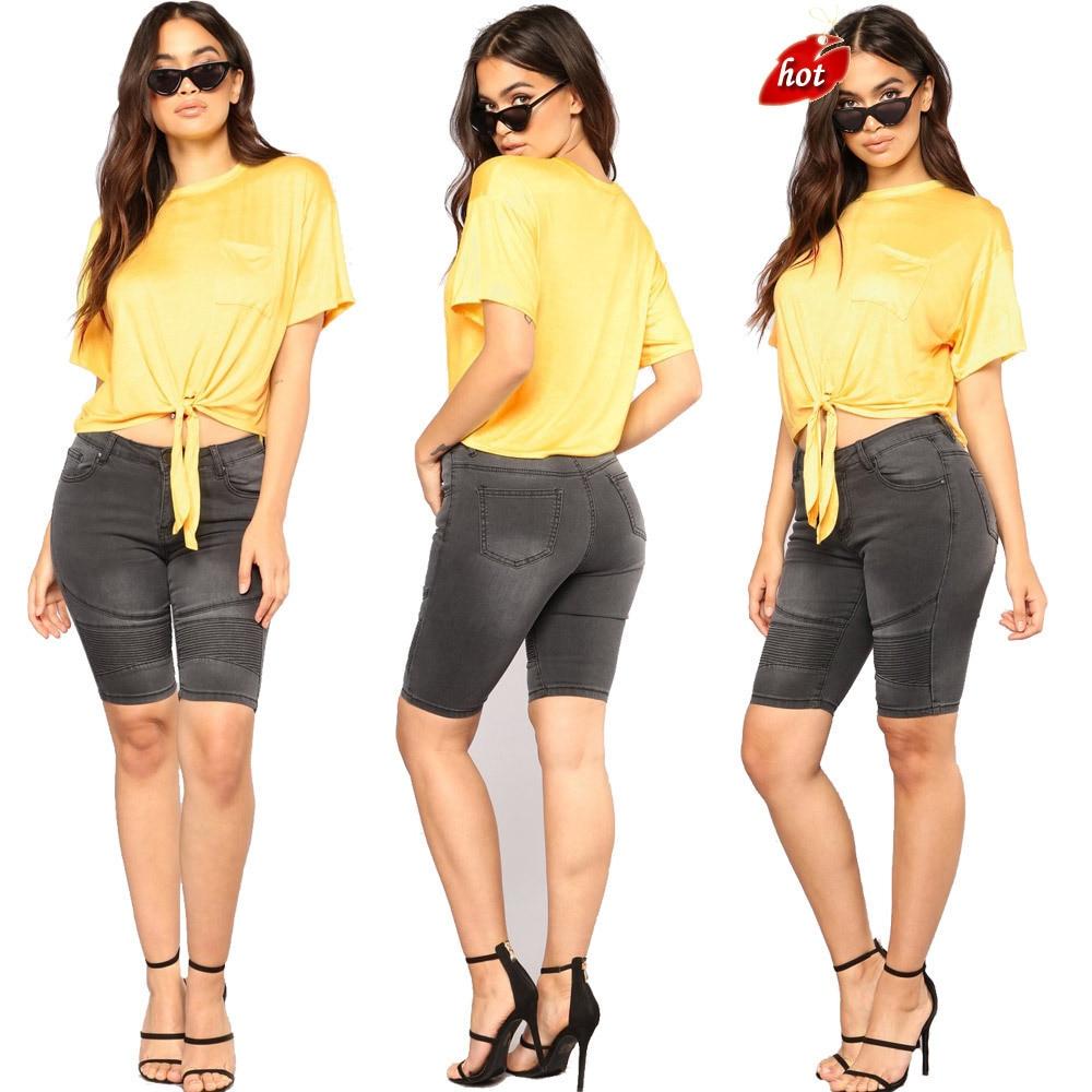 Summer Denim Shorts Women Elastic High Waist Fashion Casual Loose Hole Black Keen Length Denim Shorts Plus Size O8R2