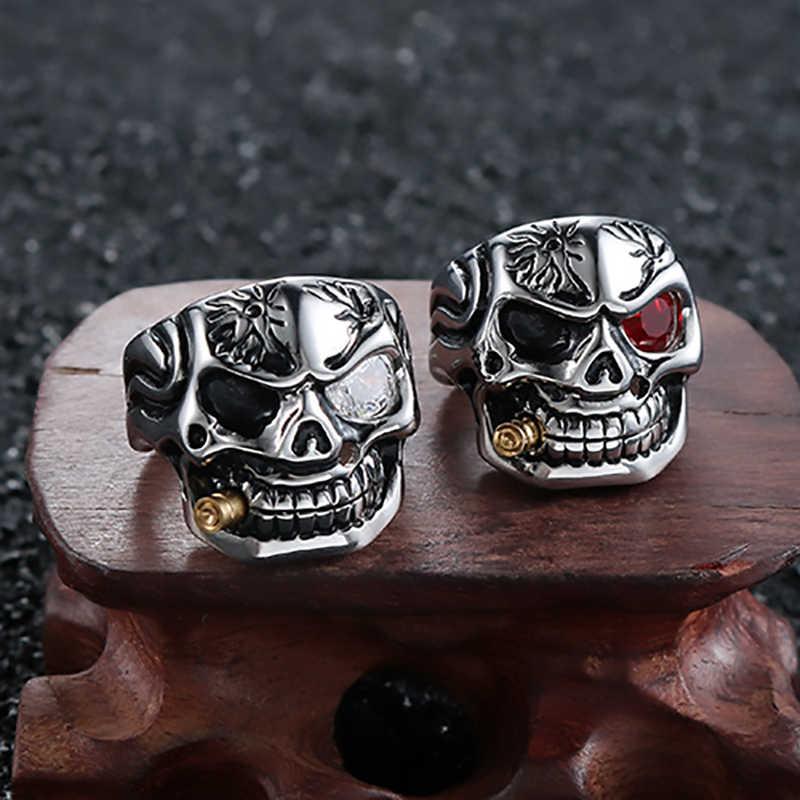 ProYearn Kaya Punk Kafatası Yüzük Erkekler için Punk Paslanmaz Çelik Kafatası Yüzük Takı Moda Aksesuarları
