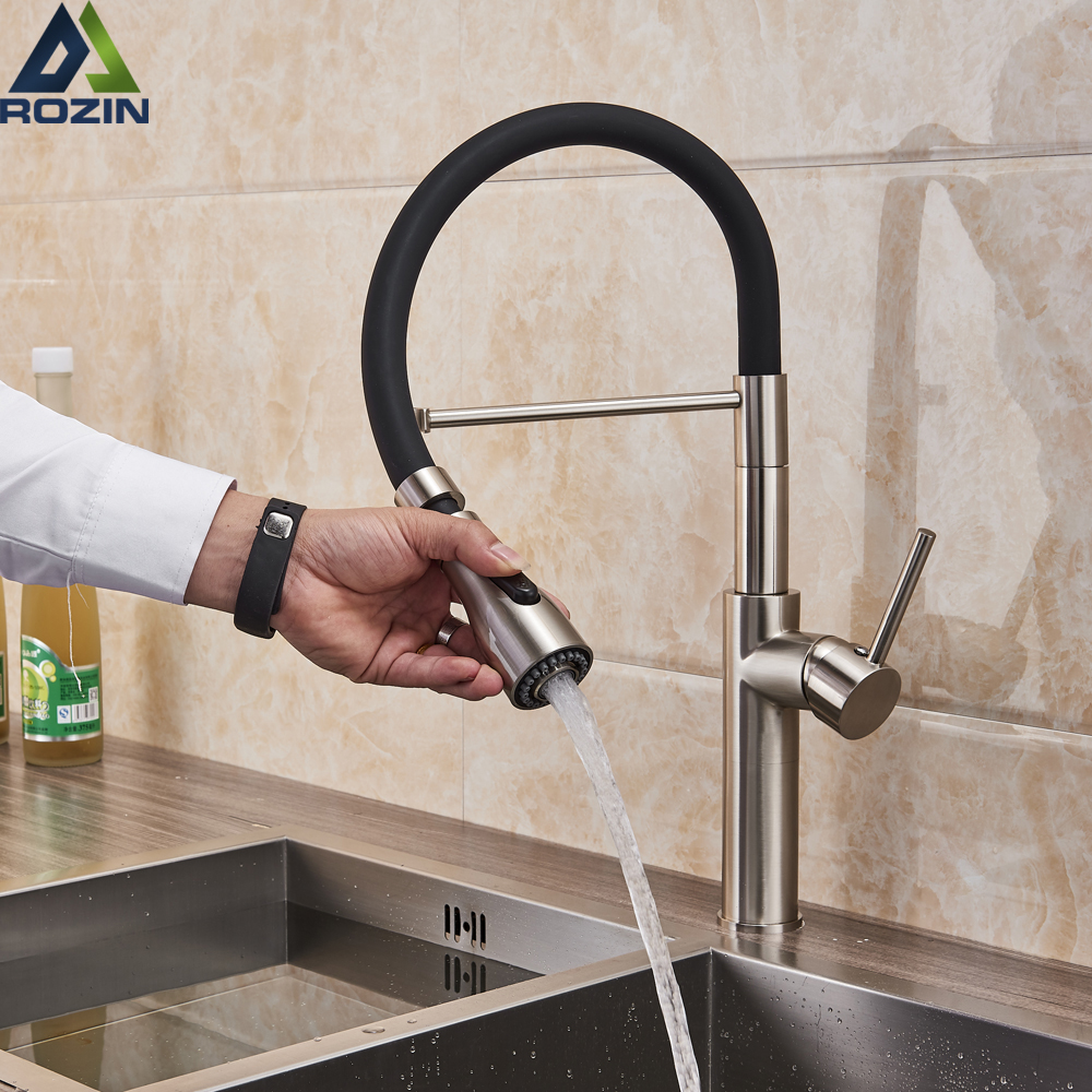 Kitchen Faucets Chrome Kitchen Sink Crane Deck Mount Pull Down Dual Sprayer Nozzle Torneira De Cozinha Mixer Water Taps-in Kitchen Faucets from Home Improvement    1